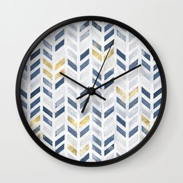 Herringbone chevron pattern. Indigo gold acrylic on canvas Wall Clock