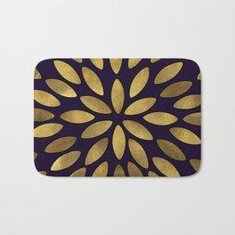 Classic Golden Flower Leaves Pattern Bath Mat