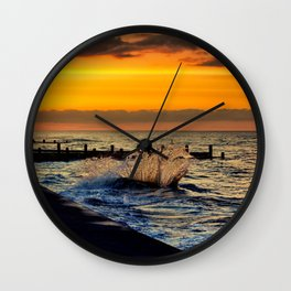 Ocean sunset at walcott Wall Clock