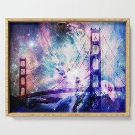 ultra violet golden gate bridge Serving Tray