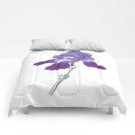 Iris 01 Botanical Flower * Purple Bearded Iris Comforters