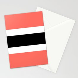 Horizontal stripes 3 Coral and black Stationery Cards