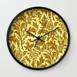 William Morris Thistle Damask in Mustard Gold Wall Clock