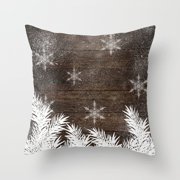 Christmas Pillows.Winter White Snow Pine Trees Brown Rustic Wood Christmas Throw Pillow By Girlytrend