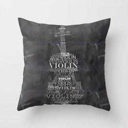 Violin on chalkboard Throw Pillow