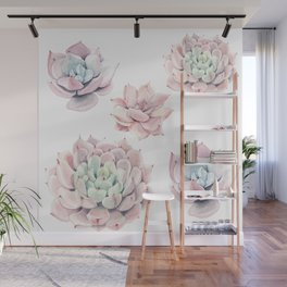 Pink Succulents Wall Mural