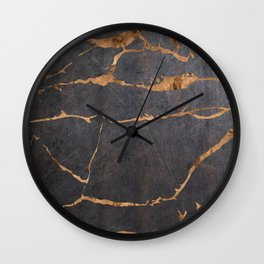 Scratched Suede and Gold Cracks Abstract Wall Clock