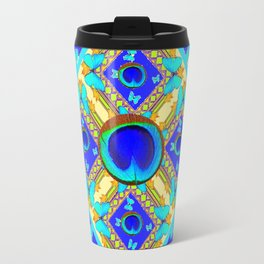 Blue Art Nouveau Turquoise Butterfly Designs Travel Mug