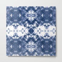 Shibori Tie Dye 4 Indigo Blue Metal Print