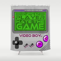 video game Shower Curtains featuring Don't Hate The Player, Hate The Game!  |  Video Game by Silvio Ledbetter