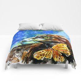 Golden Eagle And Butterfly by Kathy Morton Stanion Comforters