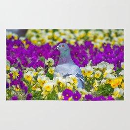 Pigeon and Pansies Rug