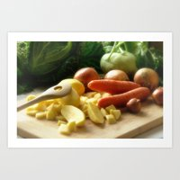 vegetable Art Prints featuring Vegetable stew by Tanja Riedel