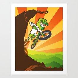 Downhill Mountain Biker Art Print