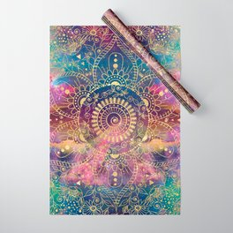 Gold watercolor and nebula mandala Wrapping Paper