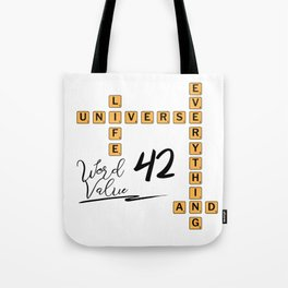 Life Universe and Everything Scrabble 42 Tote Bag