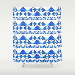 Neo Tribal Polynesian Modern Ocean Print Shower Curtain