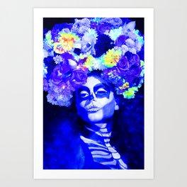 Roses & Blue Art Print