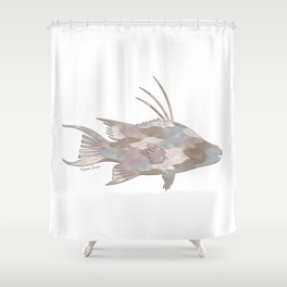 Cindy's Camouflage Hogfish Shower Curtain
