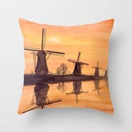 Windmills Sunset Throw Pillow