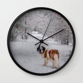 St Bernard dog in the snowy woods Wall Clock