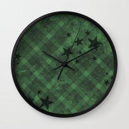 Plaid Stars Green Wall Clock