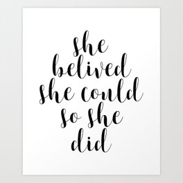 She Believed She Could So She Did, Motivational Print, Printable Art, Inspirational Quote, Quote Art Art Print