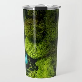 A blue tree frog in grass and moss Travel Mug