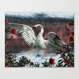 Landing Swan Canvas Print