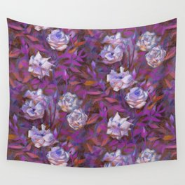 White roses, purple leaves Wall Tapestry