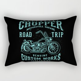 Retro Motorcycle Chopper Typography Rectangular Pillow