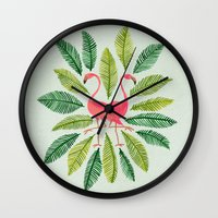 general Wall Clocks featuring Flamingos by Cat Coquillette