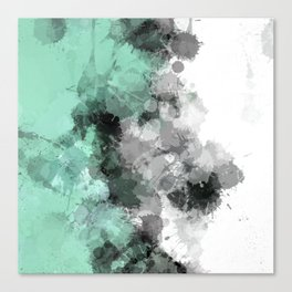 Mint Green Paint Splatter Abstract Canvas Print