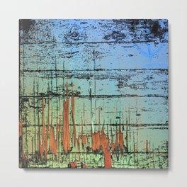 Blue cracked wood Metal Print