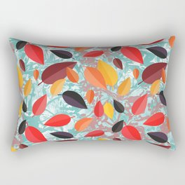 Autumn Birch Leaves on Marbled background Rectangular Pillow