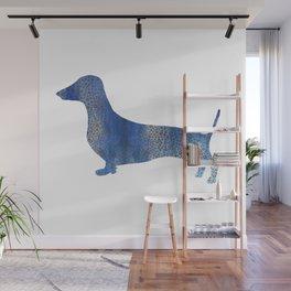 Blue Leopard  dachshund Wall Mural