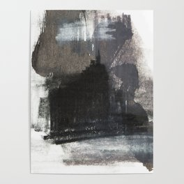 Abstract Texture, Black White & Grey Texture 1 Poster