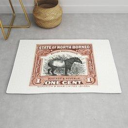 1904 North Borneo Tapir Postage Stamp Rug