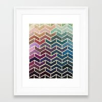 ikat Framed Art Prints featuring Chevron iKat by Steven Womack