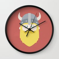 viking Wall Clocks featuring Viking by Beardy Graphics