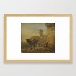 Karel du Jardin (Amsterdam c.1626-Venice 1678) A Boy Loading an Ass in an Italian Village Street c.1 Framed Art Print