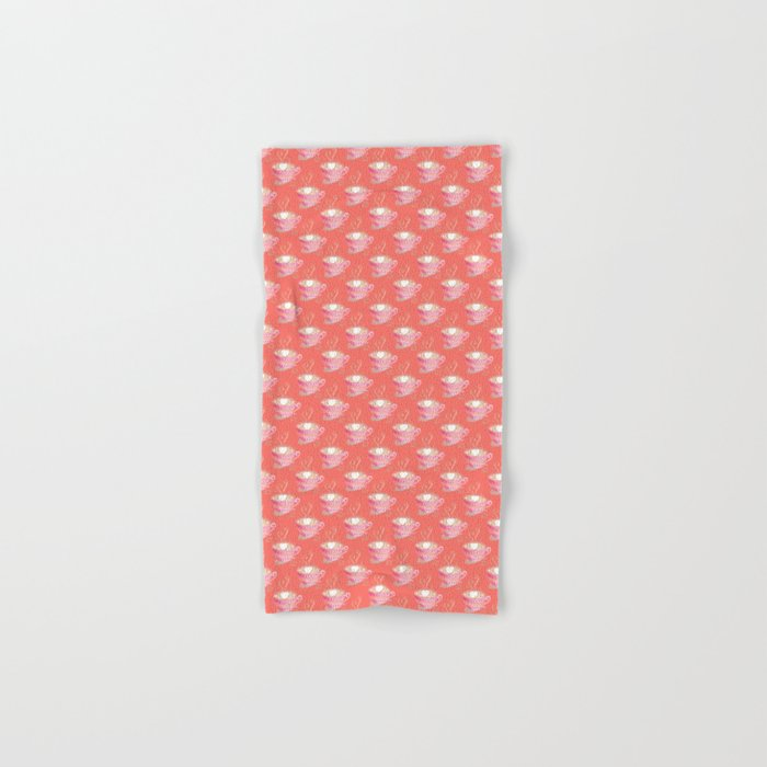 Pink cup of coffee pattern on coral background Hand & Bath Towel
