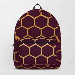 Burgundy red and gold foil honeycomb patten Backpack