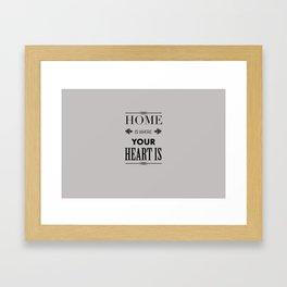 Home Heart grey - Typography Framed Art Print