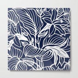 Navy Blue Floral Minimal Metal Print
