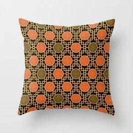 Chinese Geometrics / Black Yellow Red Throw Pillow