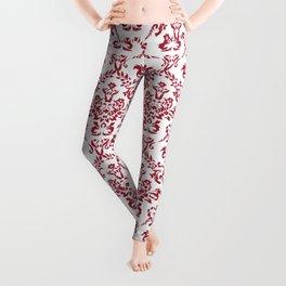 Crimson Red Damask Flourish Pattern Leggings