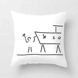 boat builder navigate dry dock Throw Pillow