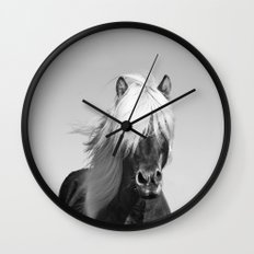 Portrait of a Horse in Scotish Highlands Wall Clock