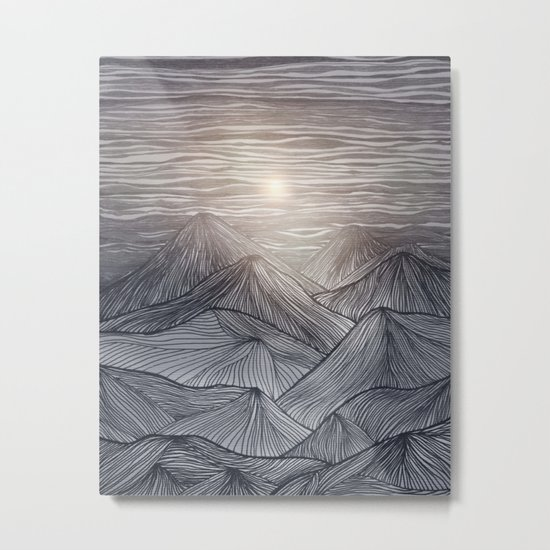 Lines in the mountains X Metal Print